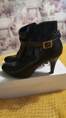 Black Leather High Ankle Boot Size 8