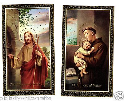 Vintage Catholic Holy Bible Prayer Cards X2   Gold Guild  Made in Italy 1969