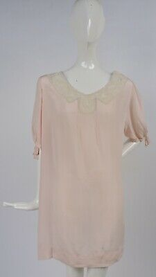 Antique 1920'S Softest Silk Blouse For Dress W Puff Sleeves & Lace Collar