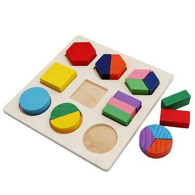 Baby Kids Early Educational Wooden Learning Toy Geometry Block Puzzle LJ