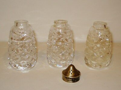 Lot of 3 WATERFORD Salt Pepper SHAKERS 1 top CRYSTAL use for vases decortive