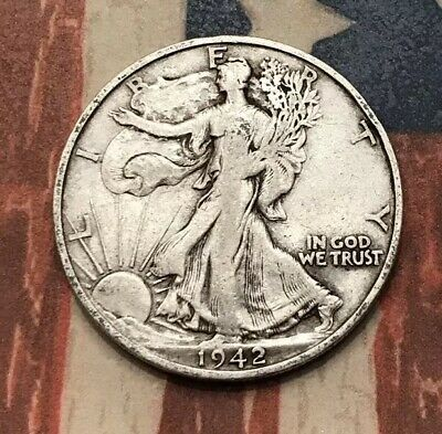 1942-S 50C Walking Liberty Half Dollar 90% Silver Vintage US Coin #SD163