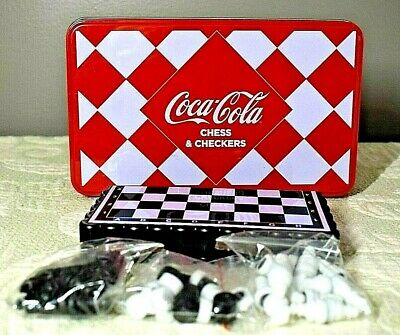 Coca-Cola Magnetic Miniature Chess & Checkers Travel Set New Unopened In Tin