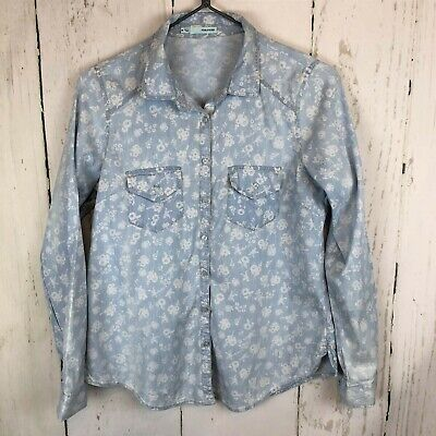 620516549 Maurices Womens Oversize Floral Print Button Down Shirt Blue Chambray Sz Med
