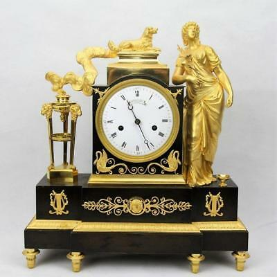 Antique mantel clock gilt patinated empire mantle pendulum ormolu bronze dore
