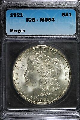 1921 - ICG MS64 Morgan Silver Dollar! #B11022