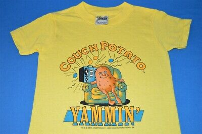 vintage 80s COUCH POTATO HALF WE'RE YAMMIN JAMMIN YELLOW t-shirt YOUTH KIDS 5/6