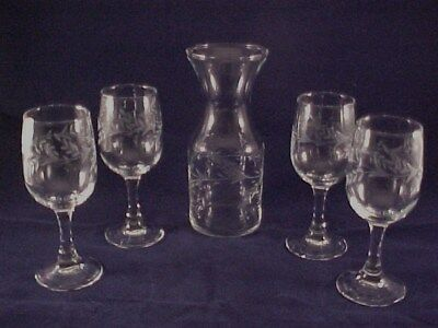 Towle Fine Crystal 5 pc Wine Carafe Set w/ Glasses NIB