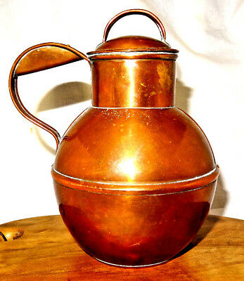 Very Rare Antique W&C Penney Makers Guernsey Copper 1 Pint Milk Jug - Signed