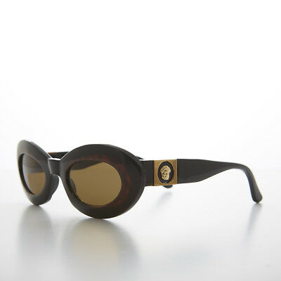 bf0fb55d673e Glam Mod Cat Eye Sunglass with Gold Bling Black and Tortoise   Brown- Athens