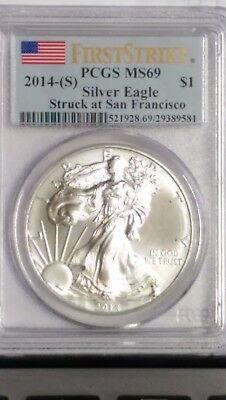 2014-S American Silver Eagle. Pcgs Ms-69 (First Strike). San Francisco Mint.