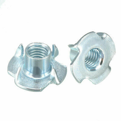 100Pcs M8 4 Pronged Tee Nut T-Nut For Rock Climbing Holds Wood Cabinetry