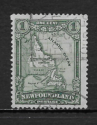 NEWFOUNDLAND , CANADA , 1928 , MAP OF NFLD ,  1c STAMP  , PERF , USED