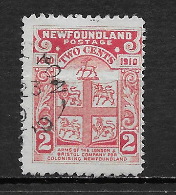 NEWFOUNDLAND , CANADA , 1910 , ARMS OF BRISTOL CO. ,  2c STAMP  , PERF , USED