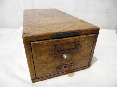 VTG Library Bureau Sole Makers Dovetailed Drawer Box Solid Oak Wood Card File