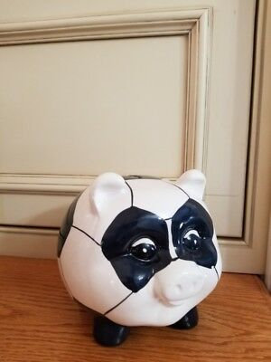 EXCELLENT~VINTAGE SOCCER BALL PIGGY BANK~Ceramic ~ORIGINAL TAG