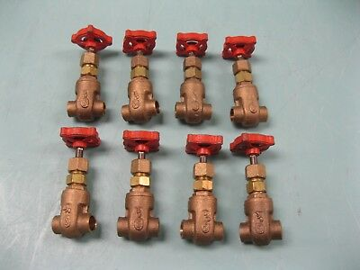 "Lot (8) 3/8"" Stockham 125# SWP Bronze Solder B-104 Gate Valve NEW H3 (2361)"