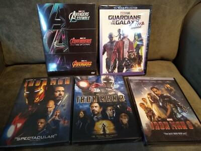 Avengers Iron Man 1-3 Guardians of Galaxy 1 & 2 - 8  Marvel Movie Collection DVD