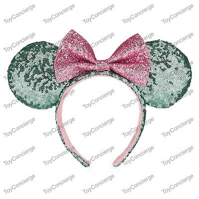 DISNEY Parks EAR HEADBAND Adult MINT GREEN Sequin w/ PINK BOW MINNIE Mouse NWT