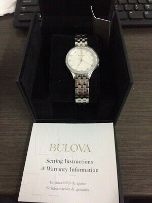 Bulova 96L270 Women's Crystal Accent Stainless Steel Watch New