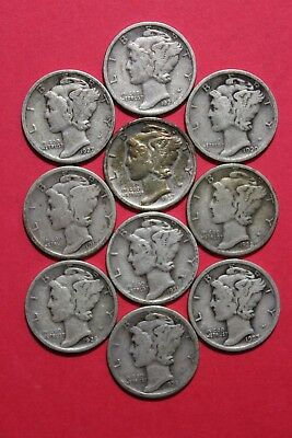 Lot Of 10 Ten Mercury Silver Dimes Exact Coins Shown Flat Rate Shipping OCE938
