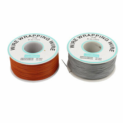 PCB Solder Gray Orange Flexible 0.25mm Core Dia 30AWG Wire Wrapping Wrap 820Ft