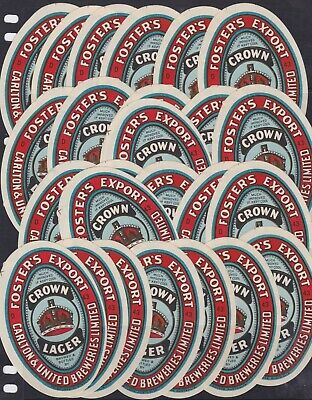 25 Foster's Export Crown Lager labels Carlton United Brewery Beer vintage OLD