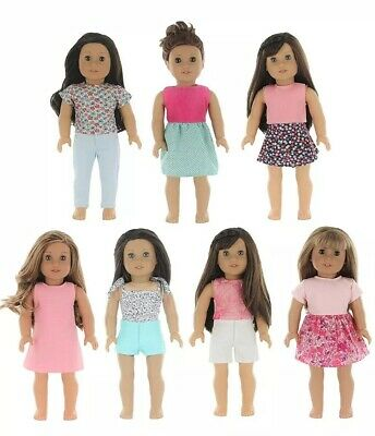 PZAS Toys 7 Outfit Set, 18 Inch Doll Clothes, Compatible American Doll
