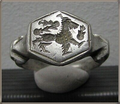 ** LION **Ancient Silver Legionary Roman Ring **AMAZING **