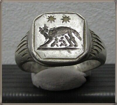 ** SHE-WOLF **Ancient Legionary Silver Roman Ring **AMAZING **