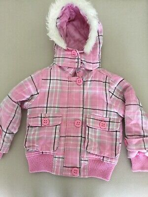 Target Girls Pink Tartan Coat With Lining Size 4 Perfect For Cooler Months