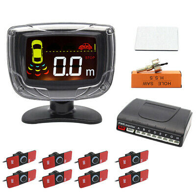 LCD Display Car Parking Sensor Reverse Radar System + 8 Flat Sensors Alarm Kit