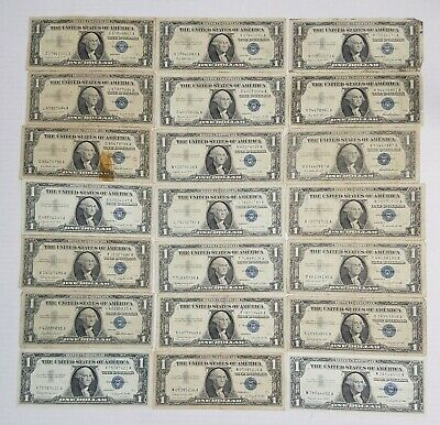Lot of 21 Silver Certificate $1.00 Dollar Notes from 1957