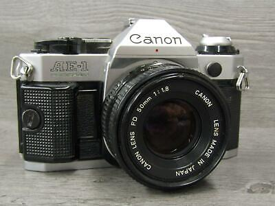 Vintage Canon AE-1 AE1 Program 35mm Film Camera 50mm 1.8 FD Lens Tested Working