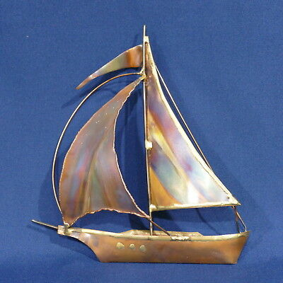 Vintage Brass & Copper Finished Metal Sail Boat ~ Nautical Art Sculpture