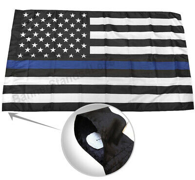 3x5 Ft THIN BLUE LINE USA Flag with POLE POCKET SLEEVE - Polyester b