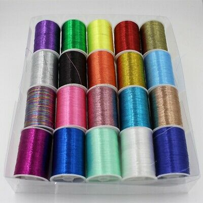 20X Roll Metallic Embroidery Thread Sewing Thread Kit Set For DIY Sewing Machine