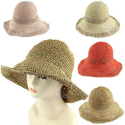 f5eac893b62ac New Womens Sun Visor Straw Crochet Bucket Hat Fordable Summer Beach Cap  Handmade