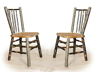 Amish set of 2 Rustic Hickory Stick-Back Dining Chairs Kitchen Chair 399.00
