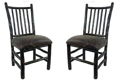Set of 2 Rustic Hickory Upholstered Dining Chairs with Spindle Back