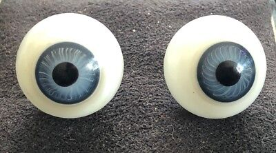 "New!! 2 Pairs Of Vintage Glass Eyeballs Bulbs For Doll Blue Or Hazel 11/16"" 18mm"
