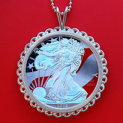 2013 1 Oz American Silver Eagle Hologram Coin Solid 925 Sterling Silver Necklace