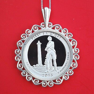2013 Ohio Perry's Victory and International Peace Memorial 25c Sterling Necklace