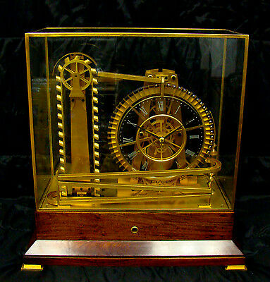 French Style Solid Rosewood Base 8 Day Waterwheel Industrial Ball Bearing Clock