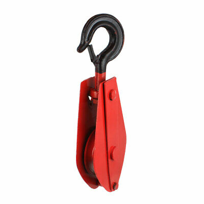 Red Black 1T Single Ring Lifting 10mm Rope Crane Pulley Block 310mm Length