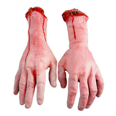 Vivid Human Arm Hand Bloody Dead Body Parts Haunted House Halloween Props tall