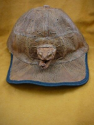 (EL1000-80-2) GENUINE Real Bufo Marinus Cane Toad brown Leather BASEBALL CAP hat