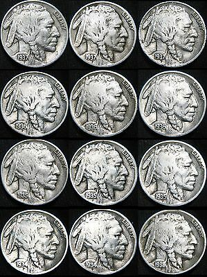 ALL 12 NICE Coins 1934 - 1938 P D S BUFFALO NICKELS 5¢! Short Set! Free S&H!