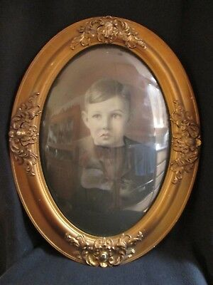 Decorated wood frame with convex bubble glass  antique vintage toddler with domed glass  boy picture