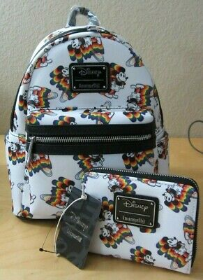 a8a2dd19095 NWT Loungefly Disney Mickey Mouse Rainbow Mini Backpack   Matching Wallet